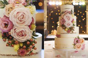 Prachtige bruidstaart met daar in mooie grote rozen besjes en Lysianthus